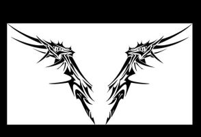 Wing-Dragon tribal tattoo by MordridFantastic
