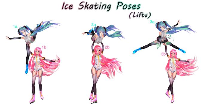 MMD Download {Ice Skating Poses - Lifts} by Devikl
