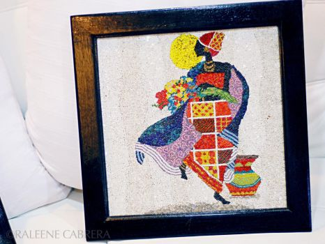 Miss Flora -bead collage by raleene