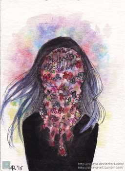 Flower face - ACEO by Disaya