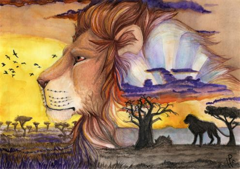 Lion sunrise by Phoeline