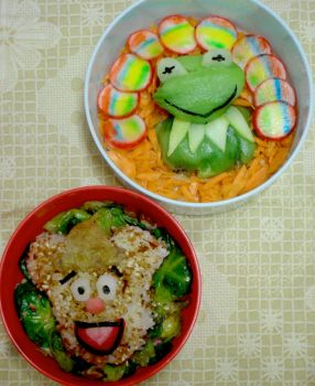Muppets: Kermit and Fozzy Bento by mindfire3927