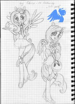 Crossover : EG Fluttershy as toy Chica by ShiveringCanvas
