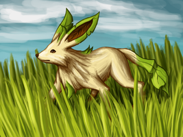 Leafeon in the Grass by BlazeDGO