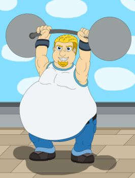 A musclegut guy holds weight lifting up by MCsaurus