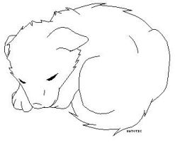 Sleeping puppy line art by Katotic