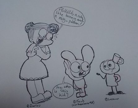 Chloe meets Mugman and bellybutton by Dan23234