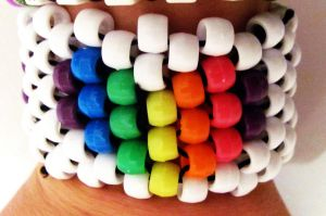 Rainbow Heart Cuff by RanebowStitches