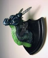 Blue and Green Dragon Head Mount by The-GoblinQueen