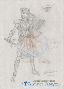 Odin's Valkyrie - Seph (New Version - Sketch) by ElfenLink