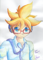 Watercolors::: Len Kagamine by amyrose7