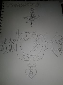 TBOFBEFT ( THE MIGHT 5) : singnager logo by blueappleheart89