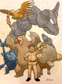 President Theodore Roosevelt and his pokemon team by grizlyjerr