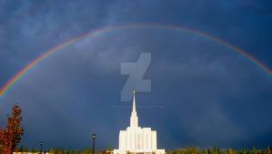 LDS Oquirrh Temple Rainbow by creativelycharged