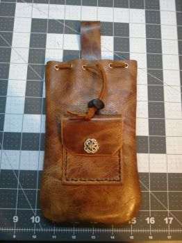 Leather Draw-String Pouch w/ coin pouch! by Geo-Aaron