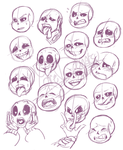Undertail - sketches: Sin Faces by Yore-Donatsu