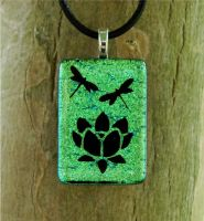 Green Lotus Fused Glass by FusedElegance