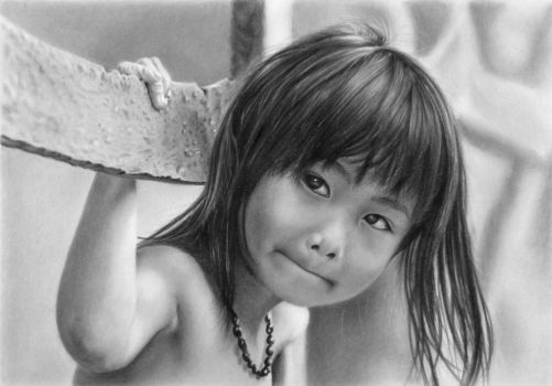 Pencil portrait of Nhu with a fence by LateStarter63