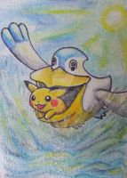 Pelipper with Pikachu flying over the sea