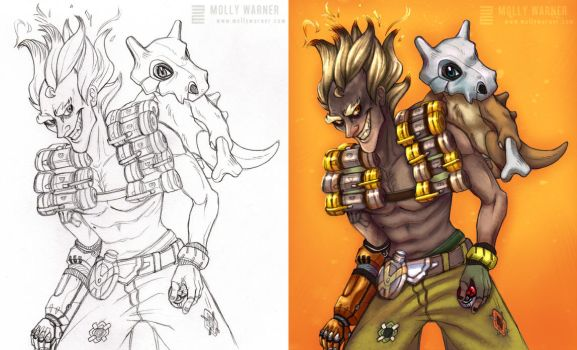 Junkrat and Cubone by SilverSkittle