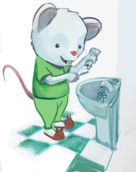 little toothbrushing mousey by zerocelb