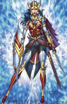 Wonder Woman in elven armor - colors by jamietyndall
