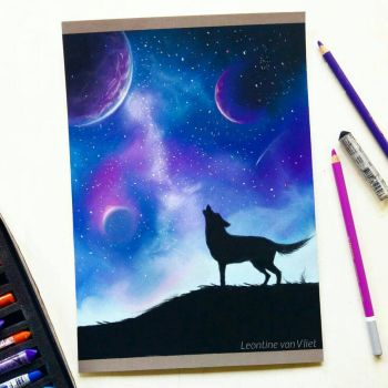 Galaxy pastel drawing by Tinesdierportretten