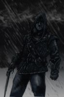 Geralt of Rivia in the rain by OFFO
