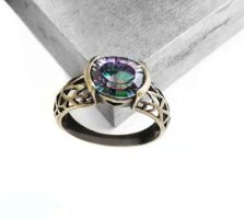 Mystic Fire Topaz Antique Bronze Vintage Ring by crystaland