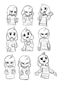Asriel's expression sheet (undertale spoiler) by Skeleion