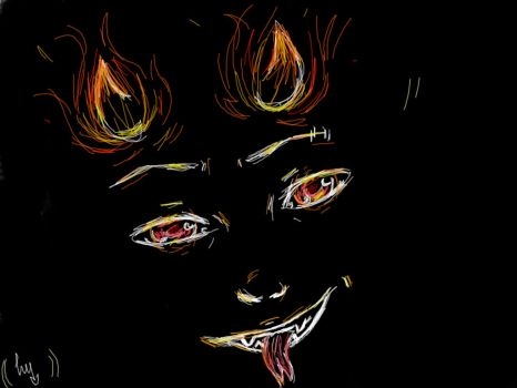 demon in fire by Luv-Lovery