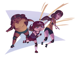 Roller Derby Chicks by TheAmoebic