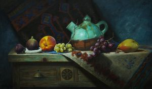 Turquoise pitcher soil and fruits by marcheba