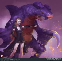 Pokemon Cynthia and Garchomp by XiaTaptara