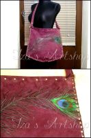Peacock feather violet leather tote bag by izasartshop