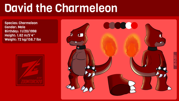 [REFERENCE] David the Charmeleon (Pokesona) by ZoomTorch20