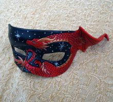 Red Bronze Small Dragon Mask by merimask