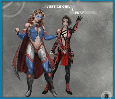 Justice Girl and Fury Redesign by DBvinal by dbvinal