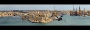 The Grand Harbour In Valletta - Panorama by skarzynscy