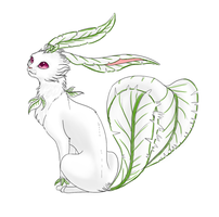 Mika the Albino Leafeon by CheezieSpaz