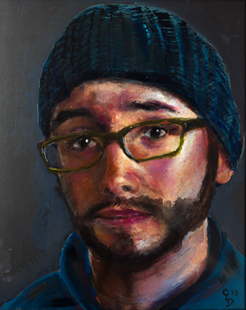 Self Portrait in Acrylic by TheCleverFox
