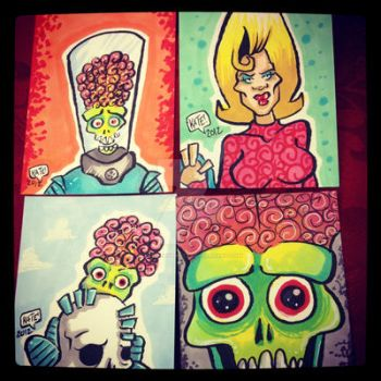 Mars Attacks personal sketchcards by keelhaulkate