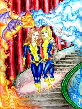 Kitty and Illyana - Shadow and Flame by IAmABananaOo