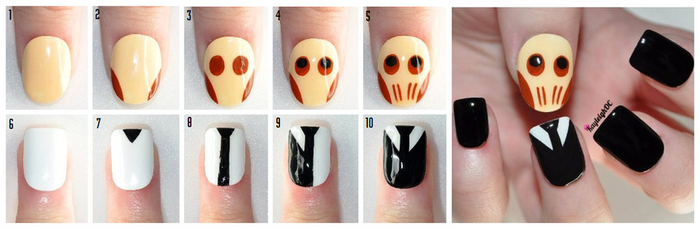 Tutorial: Doctor Who Nail Art - The Cute Silence by KayleighOC