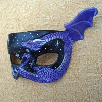 Purple dragon leather mask by merimask