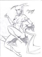 Morrigan Sketch by InvincibleSoul