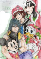 Sora and the gang X-mas 2008 by X-Seion-X