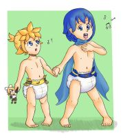 Padded Baby-loids: Kaito and Len by xJio