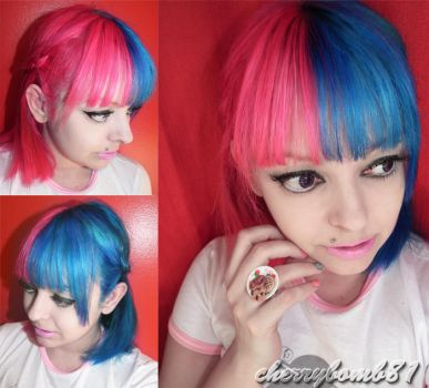 Pink Blue Split Real Hair Girl by cherrybomb-81