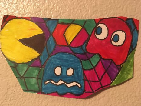 PacMan Art Colorful Design Drawing  by NWeezyBlueStars23